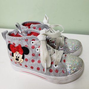 DISNEY • Minnie Mouse gray/red high top sneakers 9